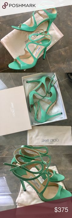Jimmy Choo Lang size 38 in peppermint green These beauties were purchased from Net-a-Porter. These have been used a handful of times. There is a small nick in one heel which is barely noticeable. Pictured clearly. Feel free to ask questions! Jimmy Choo Shoes Heels