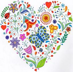 Heart zentangle coloring