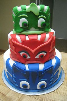 the 20 Best Ideas for Pj Mask Birthday Cake . P J Masks Cake Combined Birthday Parties, 4th Birthday Parties, Birthday Bash, Birthday Ideas, Pj Masks Birthday Cake, Cartoon Birthday Cake, Disney Cakes, Mask Party, Occasion Cakes