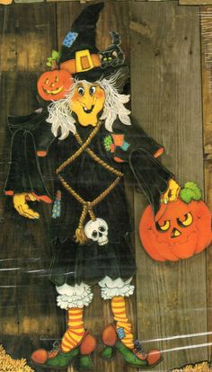 vintage jointed halloween witch 38 door decoration battie hattie rare hallmark - Hallmark Halloween Decorations