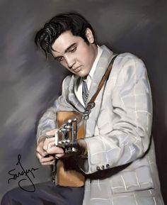 Elvis Art by Sara Lynn Sanders Lisa Marie Presley, Priscilla Presley, King Elvis Presley, Graceland Elvis, Cute Celebrities, Hollywood Celebrities, Elvis Memorabilia, Elvis Presley Pictures, Sarah Lynn