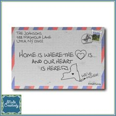 "Digital ""Where the Heart Is"" Letter– They say that home is where the heart is, With this 1950s-style letter announcement, you can let your friends and family know the address of your new home! The state on the front of the envelope matches the address you provide with the heart marking the location of your home."