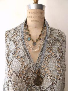 Macrame Triangle Shawl Silk Silver or Beige by IMPERIO jp