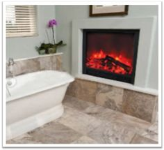 This bathroom looks cozy with the Yosemite Home Decor Wall Mounted Electric Fires burning away. Realistic Electric Fireplace, Wall Mounted Electric Fires, Wall Decor, Cozy, Bathroom, House, Home Decor, Wall Hanging Decor, Washroom