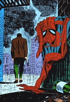 "Drawing Marvel Marvel ""Spider-Man No More"" by John Romita, Sr. - The Incredible Art Gallery - This is the landmark splash page from 1976 Amazing Spider-Man All Spiderman, Batman, Amazing Spiderman, Superman, Marvel Dc Comics, Marvel Heroes, Marvel News, Marvel Avengers, Comic Books Art"