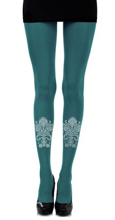 African Paisley Print Tights Turquoise & Light Grey