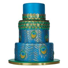 Brides: Tiered Wedding Cake with Peacock-Motif Feather Cake, Peacock Cake, Peacock Wedding Cake, Peacock Theme, Peacock Print, Purple Peacock, Beautiful Wedding Cakes, Beautiful Cakes, Amazing Cakes