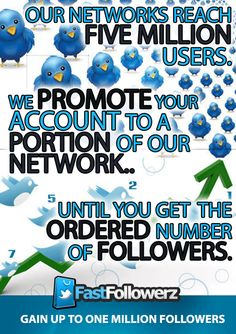 Add up to ONE MILLION followers. Buy Twitter followers from Fast Followerz. Share this infographic for 15% discount.