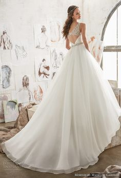 morilee spring 2017 bridal sleeveless embroidered strap wrap over ruched bodice romantic elegant a  line wedding dress keyhole back chapel train (5507) bv -- Morilee by Madeline Gardner Spring 2017 Wedding Dresses