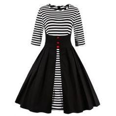 SHARE & Get it FREE   High Waist Striped Button Embellished DressFor Fashion Lovers only:80,000+ Items • FREE SHIPPING Join Twinkledeals: Get YOUR $50 NOW!