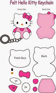 Patrón gratis llavero Hello Kitty de fieltro
