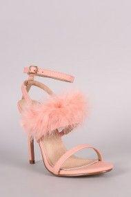 Feather Embellished Ankle Strap Open Toe Heel | UrbanOG