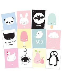A Little Lovely Company kaartenset 12 stuks A6 | Lief en Klein