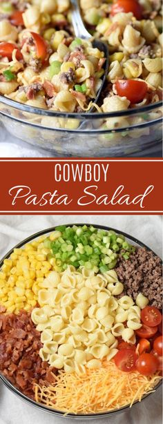 Cowboy Pasta Salad astuce recette minceur girl world world recipes world snacks Easy Pasta Recipes, Healthy Diet Recipes, Vegetarian Recipes, Easy Salads, Healthy Salads, Cold Pasta Salads, Healthy Dinners, Cowboy Salad, Cowboy Food