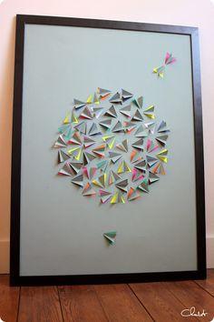 Une super DIY à faire avec un cadre Ikea, du canson, un plioir, un cutter, des feuilles de scrap de couleur, et beaucoup de patience... :)