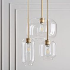 Sculptural Glass Round Chandelier, S-M-L Pebble, Clear Shade, Nickel Canopy at West Elm - 3 Light Chandeliers - Hanging Lights - Home Lighting Kitchen Lighting, Dining Room Lighting, Home Lighting, 3 Light Chandelier, Pendant Lighting, Room Lights, Ceiling Lights, Hanging Lights, Lampe Art Deco