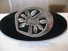 Fine Vintage Atelier Janiye Miye Matsukata Modernist 950 Fine Silver Pin Brooch