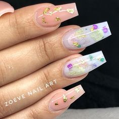 "ZOEVE® Nail art on Instagram: ""24k gold milk bath 🤤 tag your favorite nail artists to recreate this set 😍💕"" Aycrlic Nails, Get Nails, Nude Nails, Coffin Nails, Encapsulated Nails, Different Nail Designs, Milk Bath, Nail Inspo, Nail Artist"