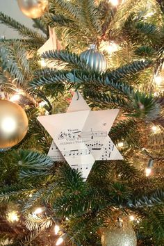 sheet music star of david ornament