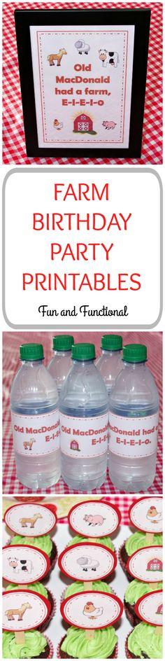 Farm, Birthday Party, Farm Theme, Free Printables, First Birthday, Cupcake Toppers, Farm Cupcakes, Water Bottle Wrappers, E-I-E-I-O, Farm Décor, Old MacDonald