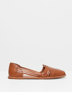 Pull&Bear - woman - women's footwear - braided leather strappy sandals - leather - 11630011-V2015