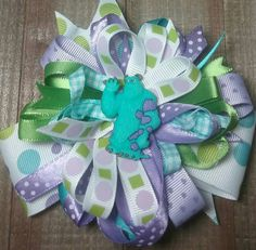 Sully Monsters Inc. bow Over the top/ boutique style hair bow/pageant bow/ big bow/baby hair bow/ baby headband/birthday bow/ smash cake . by SweetDesignsbyCindy on Etsy