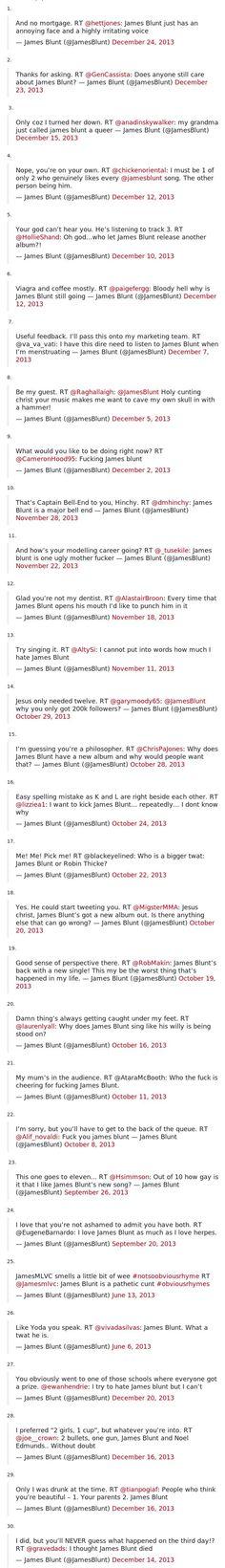 James Blunt's tweets.