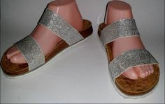 Birkis Silver Shimmer Double Strap sandals