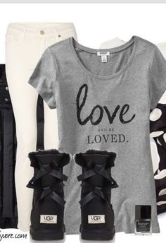 White jeans, cute shirt, and black bailey uggs.