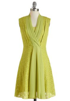 Really like the different fabrics/textures - not as complicated as the other lime colored dress