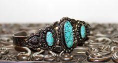 Native American Sterling Spider Web Turquoise Cuff #Rubylane www.rubylane.com
