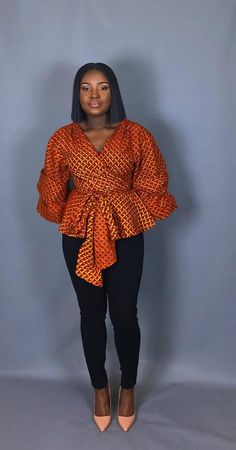 African print fabric used for blouses,dashiki tops, that can be Rocked with Jeans Trouser for AFRICAN WOMEN - WearitAfrica African Fashion Ankara, Latest African Fashion Dresses, African Print Fashion, Africa Fashion, African Blouses, African Tops, African Women, Long African Dresses, African Print Dresses