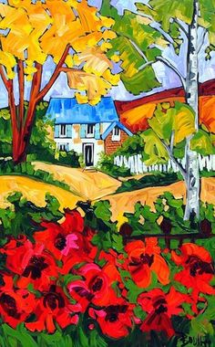 by Marie Claude Boucher Oil Painting App, Gouache Painting, Painting & Drawing, Landscape Art, Landscape Paintings, Landscapes, Paintings I Love, Naive Art, Art Themes