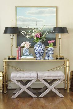 Styled Vignette | X Benches | Ginger Jars | Brass Lamps | Landscape Art  www.charmingincharlotte.com