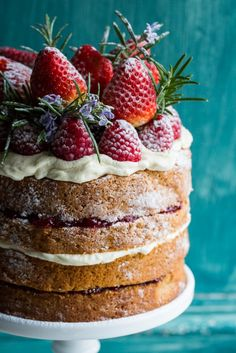 """BUCKWHEAT CAKE with BERRY COMPOTE ~~~ this recipe is shared from the book, """"love, aimee x: 50 beautiful sweet gifts for friends & family"""". [Aimee Twigger] [twiggstudios] [cygnetkitchen]"""