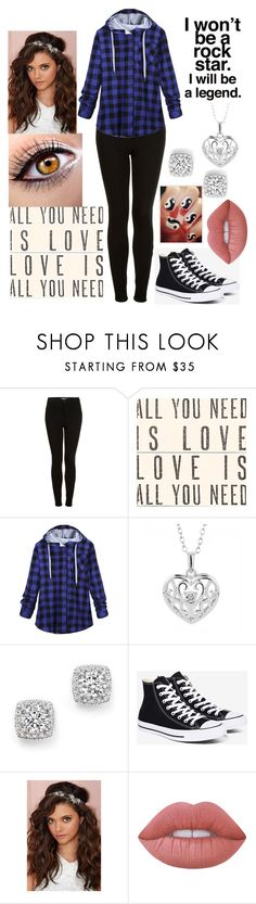 """BLUE, BLACK, WHITE, & SILVER"" by rngriffis02 ❤ liked on Polyvore featuring Topshop, Sugarboo Designs, Reeds Jewelers, Bloomingdale's, Converse, Berry and Lime Crime"