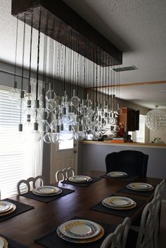 Directions for making an 80-bulb (but only 8 light up) crazy awesome modern chandelier.