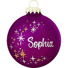 personalized purple star-swirl ornament $10.99 #personalized #ornament #Christmas #star #purple #BronnersChristmasWonderland #Bronners