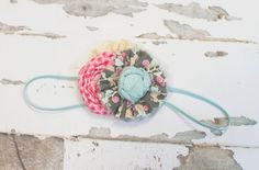 Precious Petite headband in aqua, pink, dark pink, grey, tan and cream by SoTweetDesigns