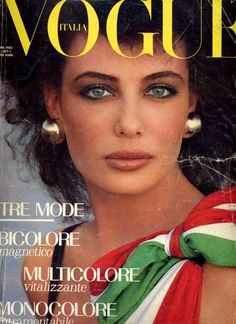 Beautiful Kelly LeBrock gracing the cover of Italian Vogue 1980s