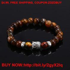 2016 Natural Stone bead Buddha Bracelets For Women and Men,Silver Buddha, Turquoise,Black Lava