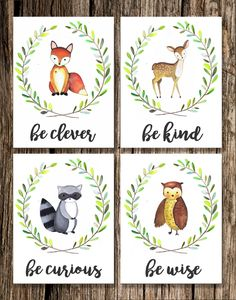 Woodland Animal Nursery Decor | DIGITAL DOWNLOAD | Fox Deer Raccoon Owl Bear | Be Brave Be Kind Be Curious Be Clever Be Wise | Wall Art by EmilyShayArt on Etsy https://www.etsy.com/listing/494651541/woodland-animal-nursery-decor-digital