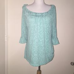LOFT sage three quarter length sleeve Beautiful one of a kind LOFT shirt with Ruffles around the neck and sleeves LOFT Tops Blouses