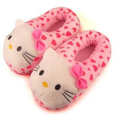 Hello Kitty Indoor Shoes HELLO KITTY Slip-resistant Rubber Sole Plush Slippers One Size Fits all Hello Kitty Slippers $9.85