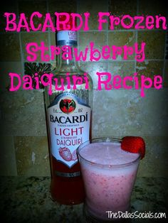 Easy to make Frozen Strawberry Daiquiri Recipe #summer #bacardi
