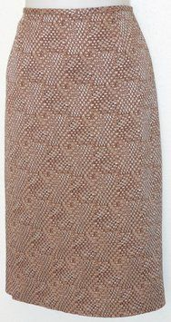 Lafayette 148 New York Pencil Woven Skirt Brown & White