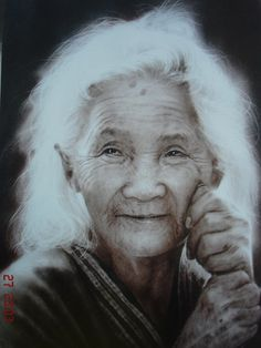 The Beauty of Age: Charcoal powder drawing on paper by Adoon Kitimoon Old Faces, Many Faces, Ageless Beauty, Portraits, Interesting Faces, People Around The World, Old Women, Beautiful People, Old Things