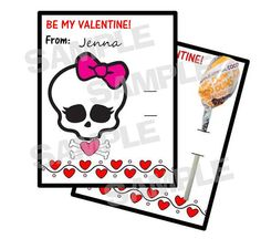 Pink Skull Monster High Valentine Cards holds by myhtmdesigns, $8.99