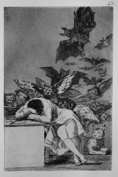 The Sleep of Reason Produces Monsters (Spanish: El sueño de la razón produce monstruos) is an etching by the Spanish painter and printmaker Francisco Goya. Created between 1797 and it is the of 80 etchings making up the suite of satires Los Caprichos. Francisco Goya, Arte Obscura, Art Et Illustration, Spanish Artists, Gustav Klimt, Dark Art, Art History, Art Museum, Fine Art