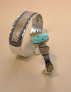 Spiderweb Turquoise, 14Kt Gold and Sterling ring and bracelet set by  Marc Antia, Apache